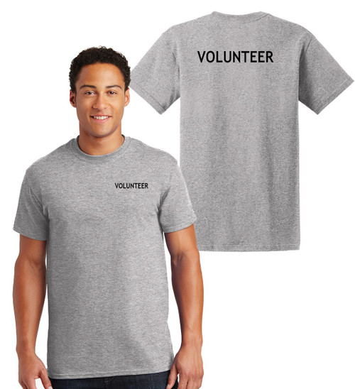 Volunteer Cotton T-Shirts Printed Left Chest and Back,Grey