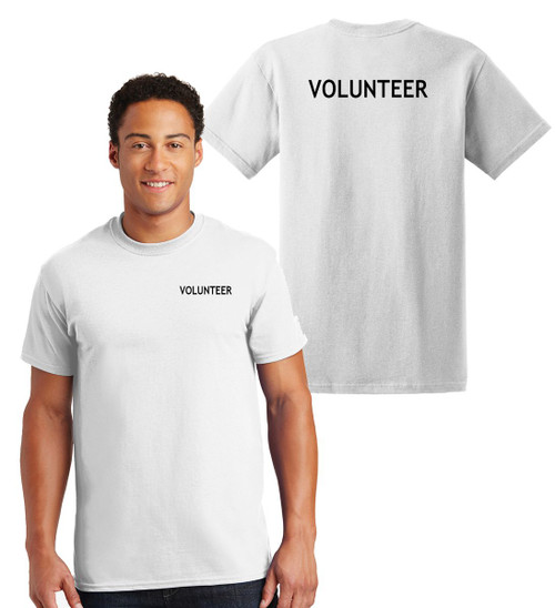 Volunteer Cotton T-Shirts Printed Left Chest and Back,White