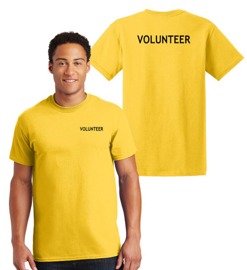 Volunteer Cotton T-Shirts Printed Left Chest and Back,Yellow
