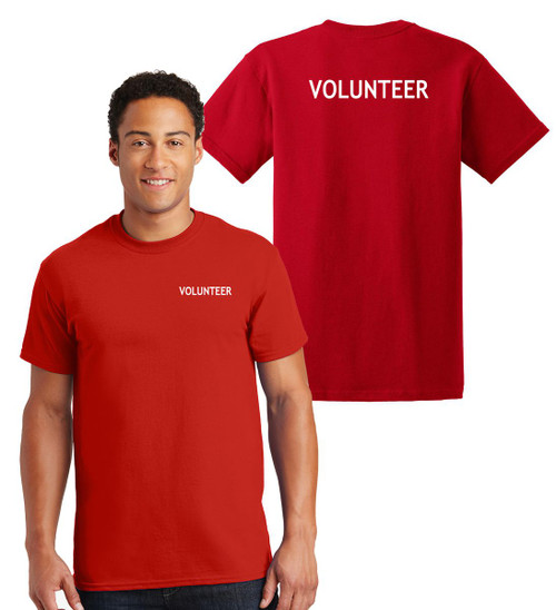Volunteer Cotton T-Shirts Printed Left Chest and Back,Red