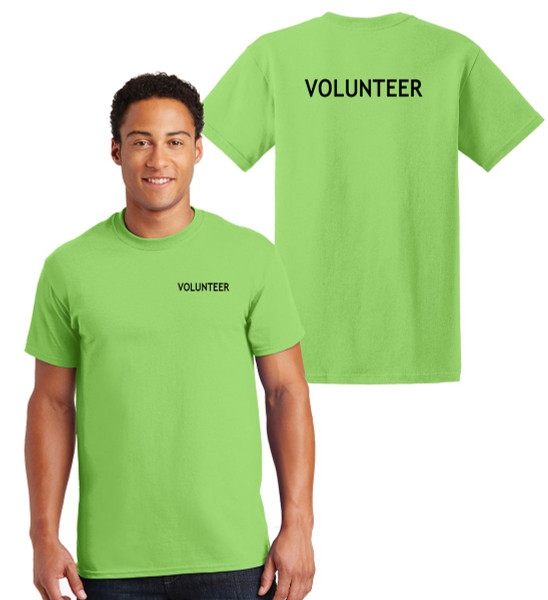 Volunteer Cotton T-Shirts Printed Left Chest and Back,Lime