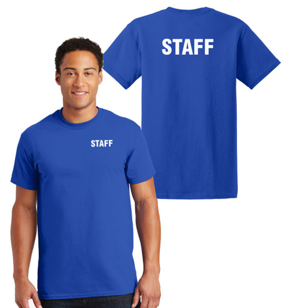 Staff Cotton T-Shirts Printed Left Chest and Back,Royal
