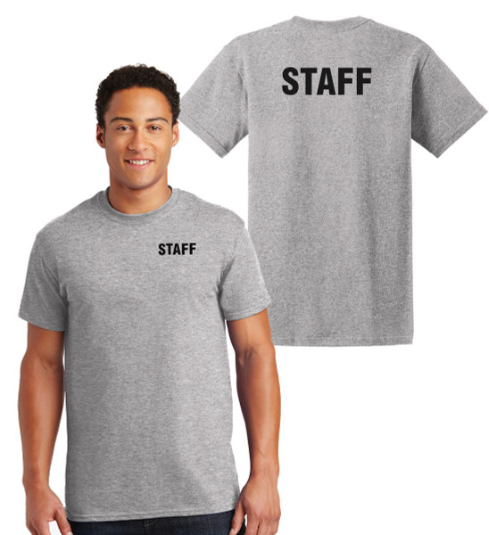 Staff Cotton T-Shirts Printed Left Chest and Back,Grey