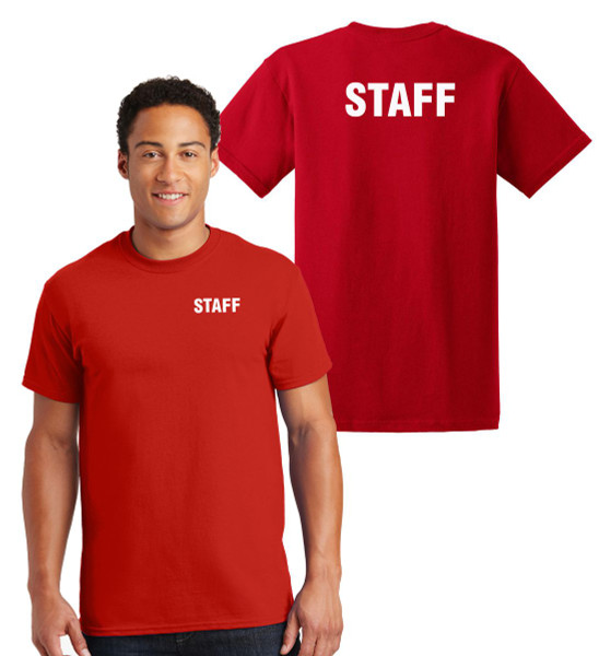 Staff Cotton T-Shirts Printed Left Chest and Back,Red