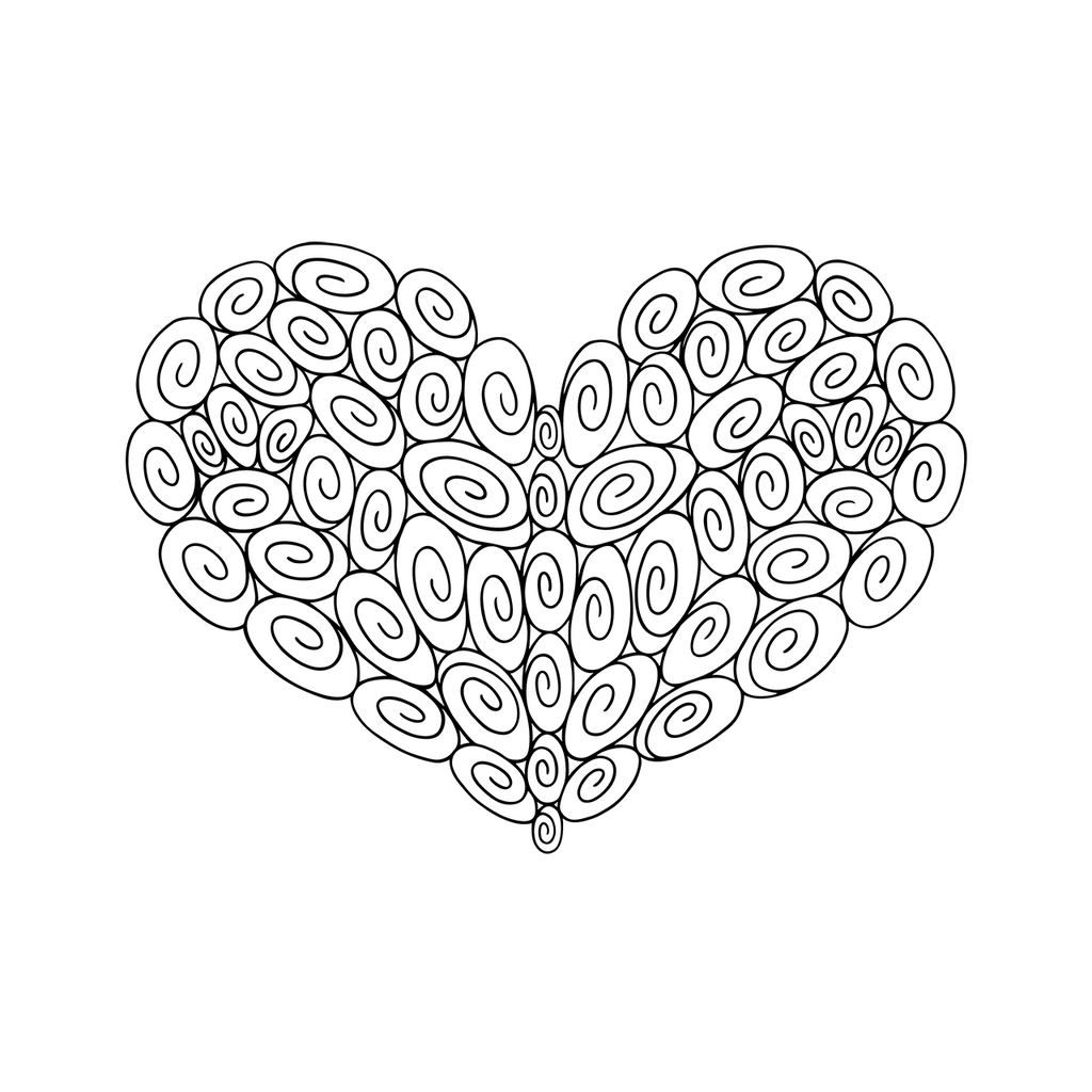 60 Swirl Heart : Love Collection : Fancy Print