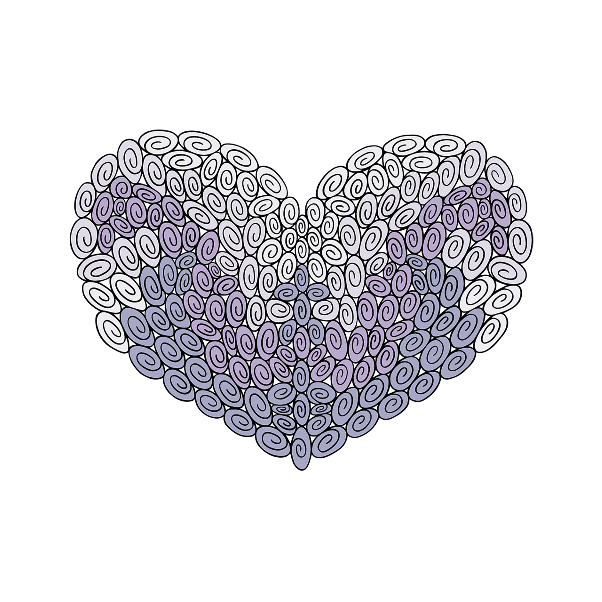 180 Swirl Heart : Love Collection : Fancy Print