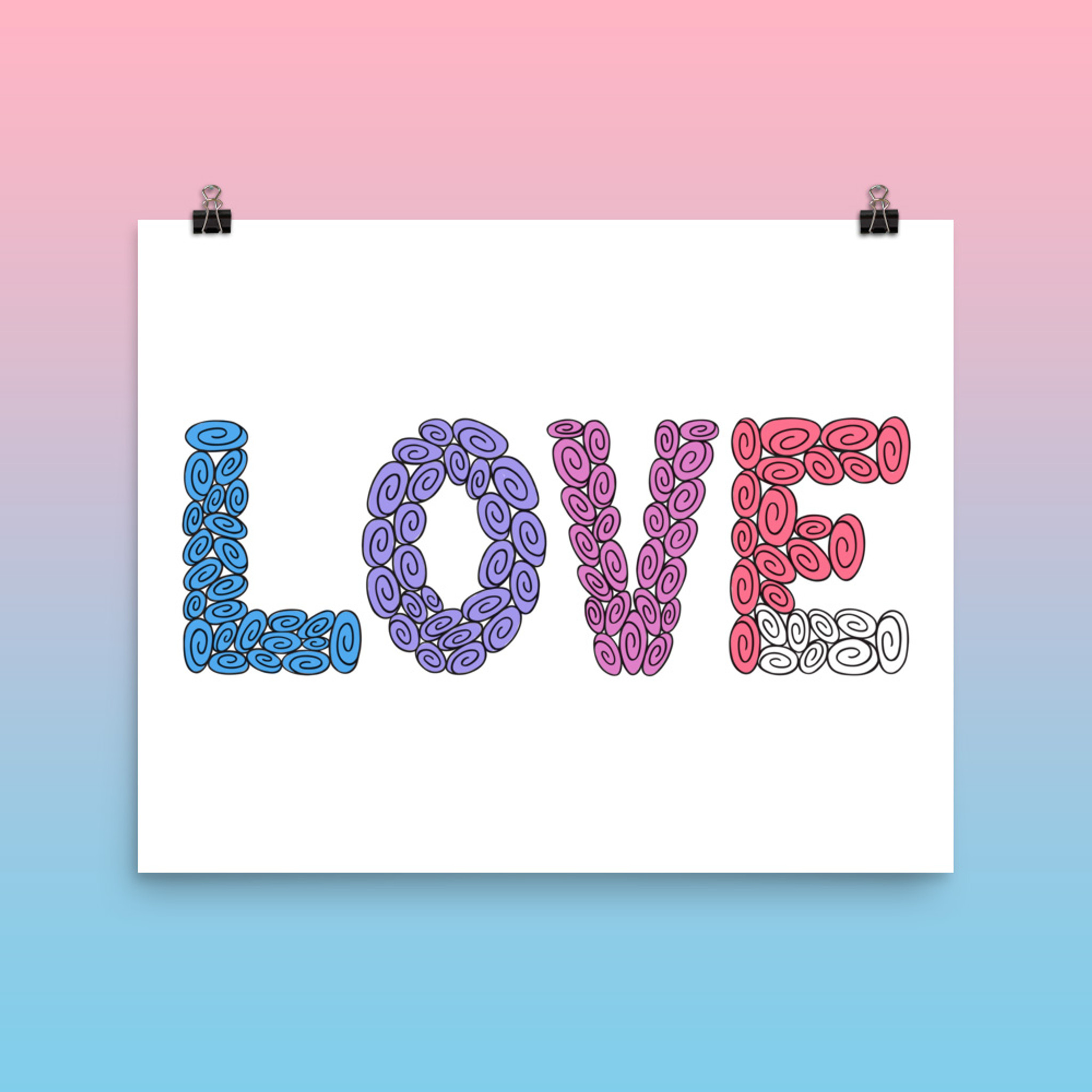 100 Swirl LOVE : Words Collection : Fancy Print