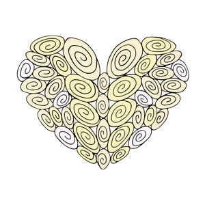 40 Swirl Heart : Love Collection : Canvas