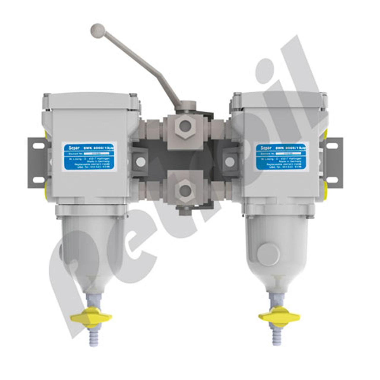 Separ 2000/10UMK-G - Duplex 158 GPH Fuel Water Separator with Metal Bowl, Water Contacts, and Gauge  SWK200010UMKG