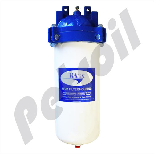 """VF61 Parker Velcon Fuel Filter Vessel (Cartridge Not included) 150 PSI Max 1 1/2"""" NPT 50 GPM max"""
