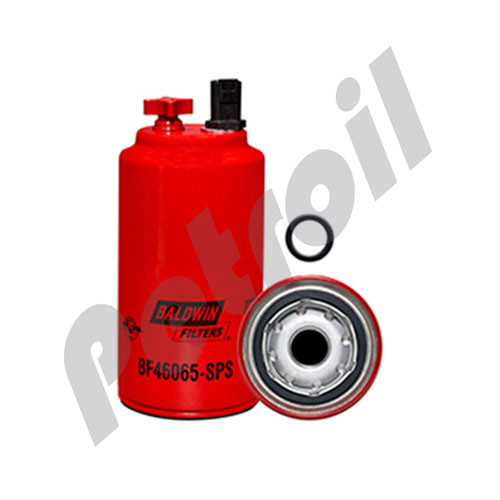 BF46065-SPS Baldwin Fuel/Water Separator Spin-on with Drain, Sensor Port and Reusable Sensor Volvo 43919935, 43802263 Fleetguard FS19732 Hifi/Jura Filtration SN909030 Napa Gold 3732 Wix 33732