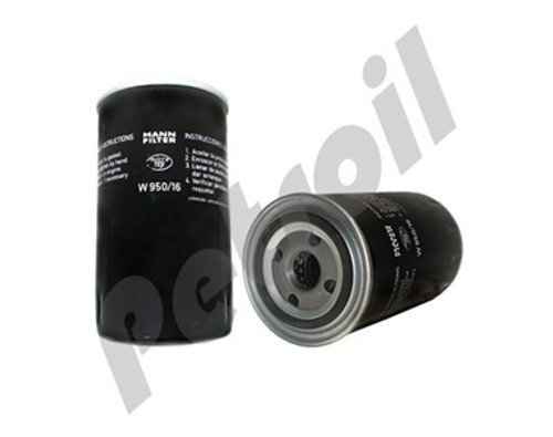 (Case of 1) W950/16 MANN Oil Filter Truck VW 17-210 Ford Cargo 1617 Encava c/Engine Cummins 3914395 BT339 LF3349 51607 PSL280