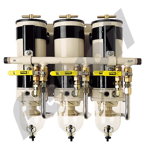 (Case of 1) 791000FHV10 Racor Filter Housing/Sep Triple Turbine 1000FG 540 GPH (1500 HP) w/Service Valve , Mounting Base, Parallel Manifold
