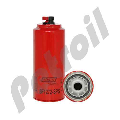 Obsolete Use BF1272-SPS Baldwin Fuel Filter. Spin On w/Drain Cummins 3800394 Case J800394 FS1022 33422 P551122