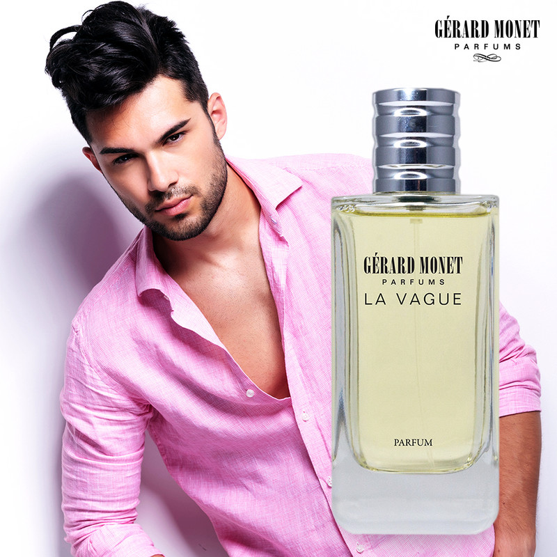 La Vague (The Wave) for Men: is an impetuous and enigmatic perfume for a man who is courageous and desirable. The perfume opens with aromatic notes that evolve to warm spicy notes with a final touch of sensual balsamic notes.  Fragrance Family: Floral & Woody Main Accords: Aromatic, Balsamic, Citrus, Warm Spicy, and Woody.  Top Notes: Cardamom, Cedar Needles, Grapefruit, and Rosemary. Middle Notes: Olibanum, Tuberose, and Ylang-Ylang.  Base Notes: Cedar, Sandalwood, and Vetiver.