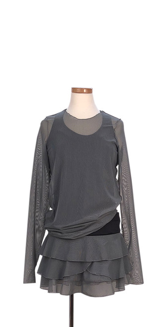 Bella Long Sleeve in Black/Grey Pinstripe Mesh