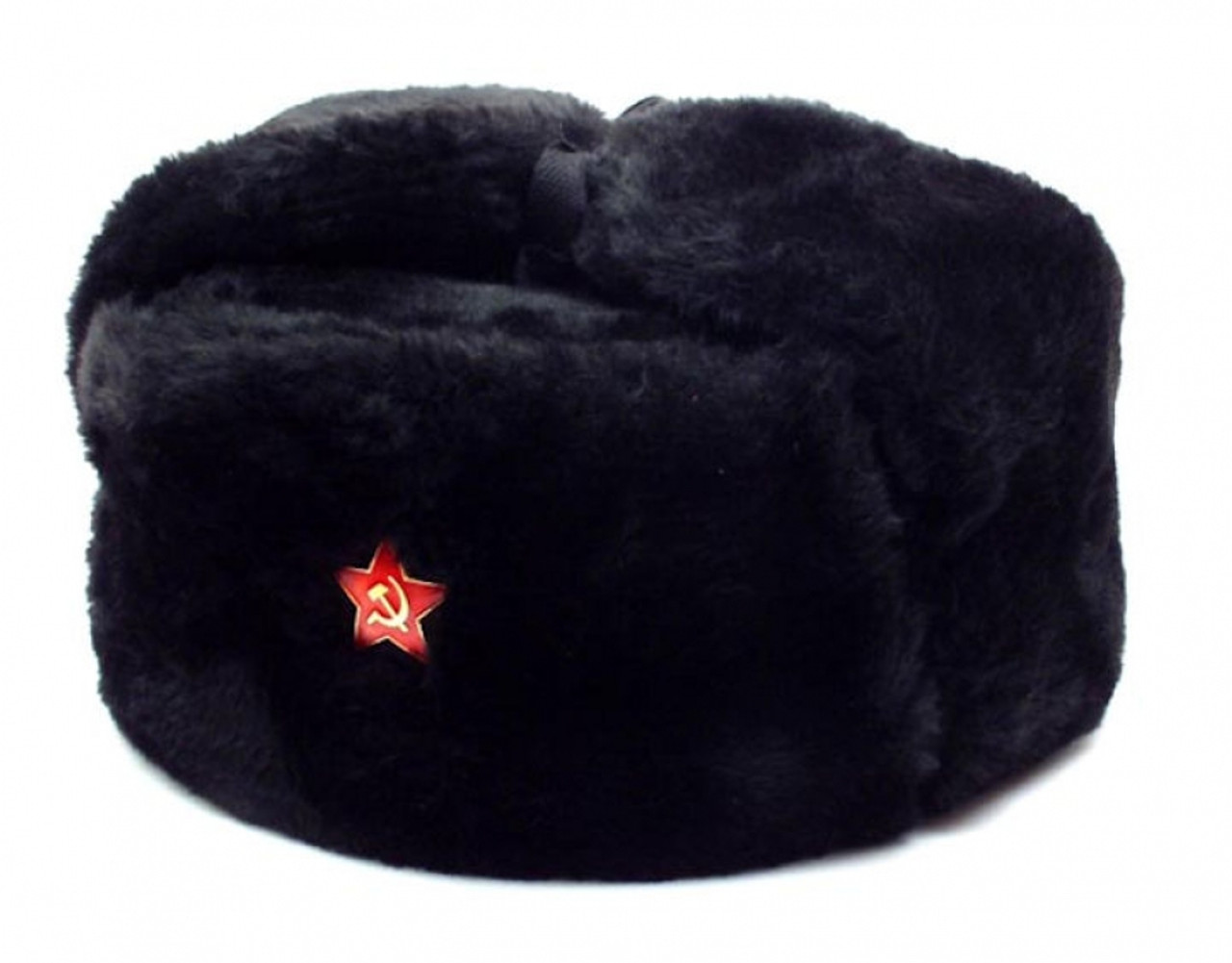 3dc4b4ca5cb Authentic Russian Military Black Ushanka Hat Red Star Hammer and Sickle