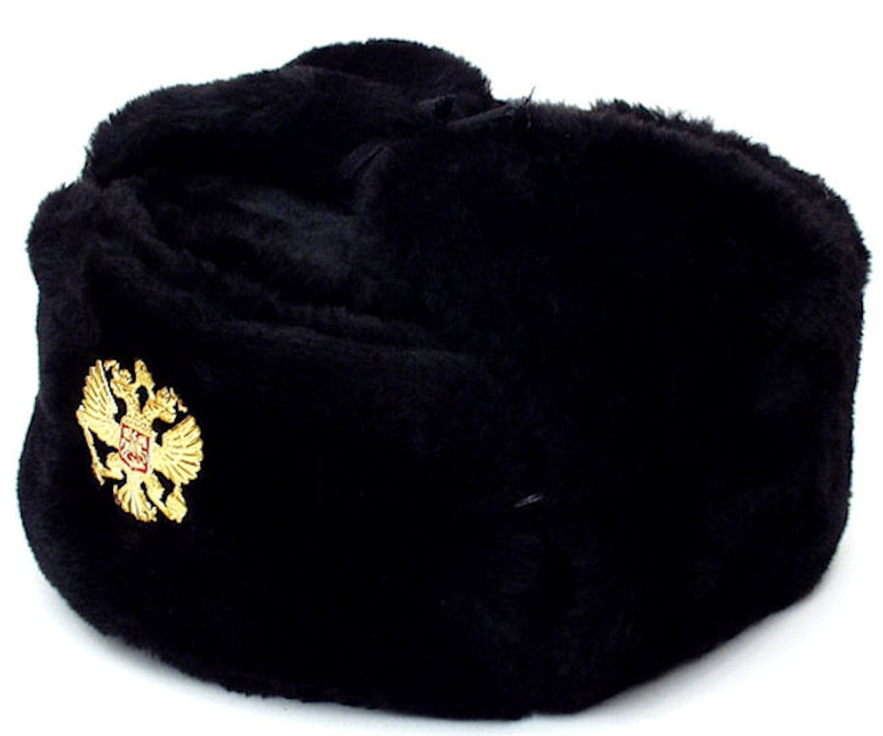 18a670a6c41 Authentic Russian Military Black Ushanka Hat Soviet Imperial Eagle Badge