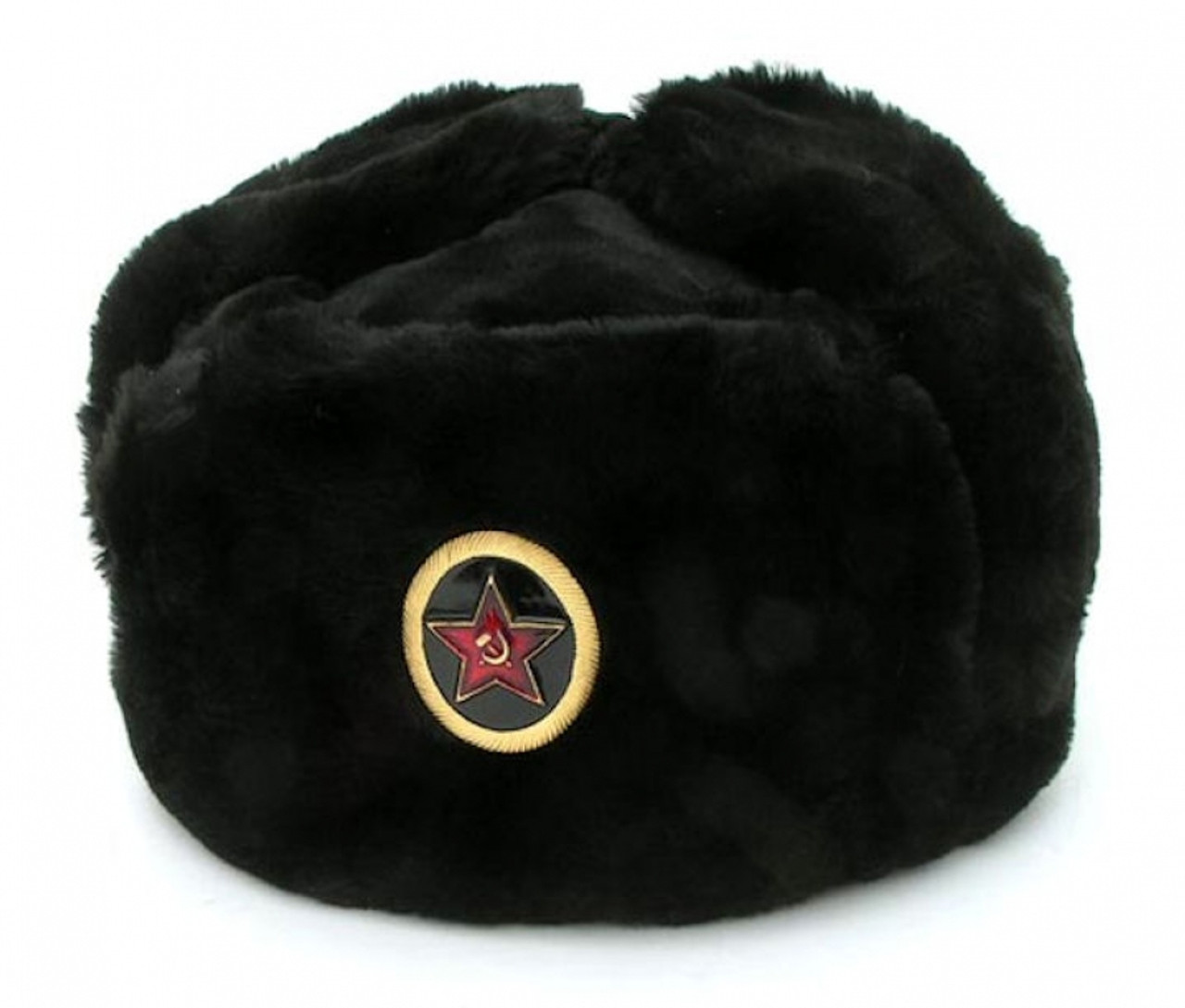 Authentic Russian Military Black Ushanka Hat w  Big Red Star General Badge 68df05a6623