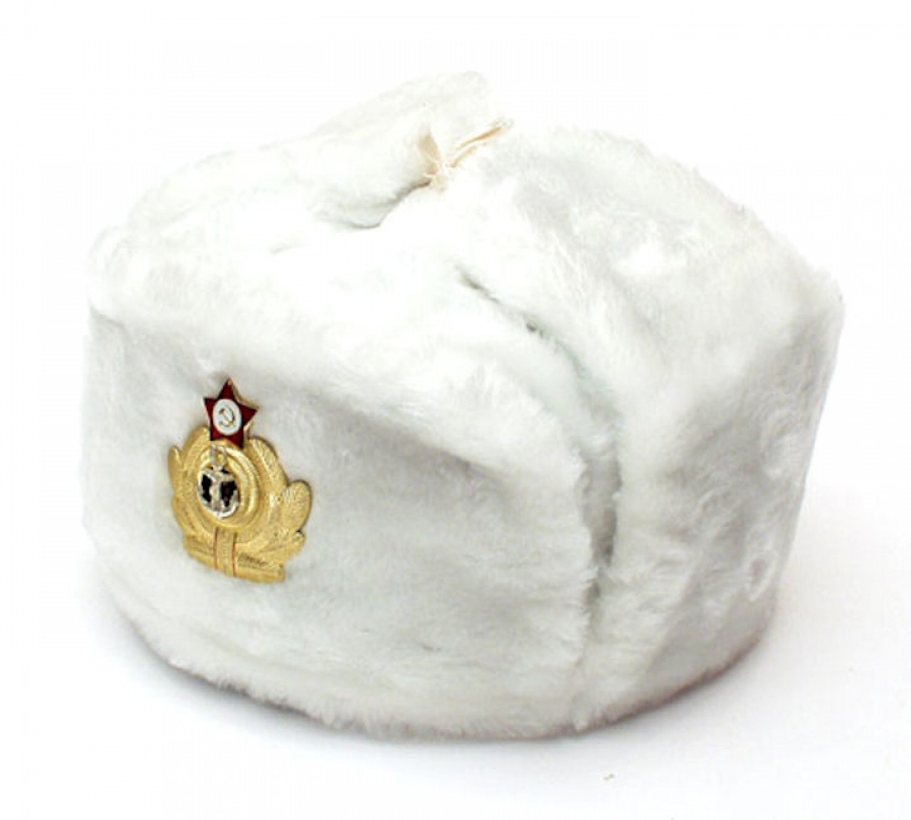 aa4461cfee0fe Authentic Russian Military White Ushanka Hat Anchor and Red Star ...