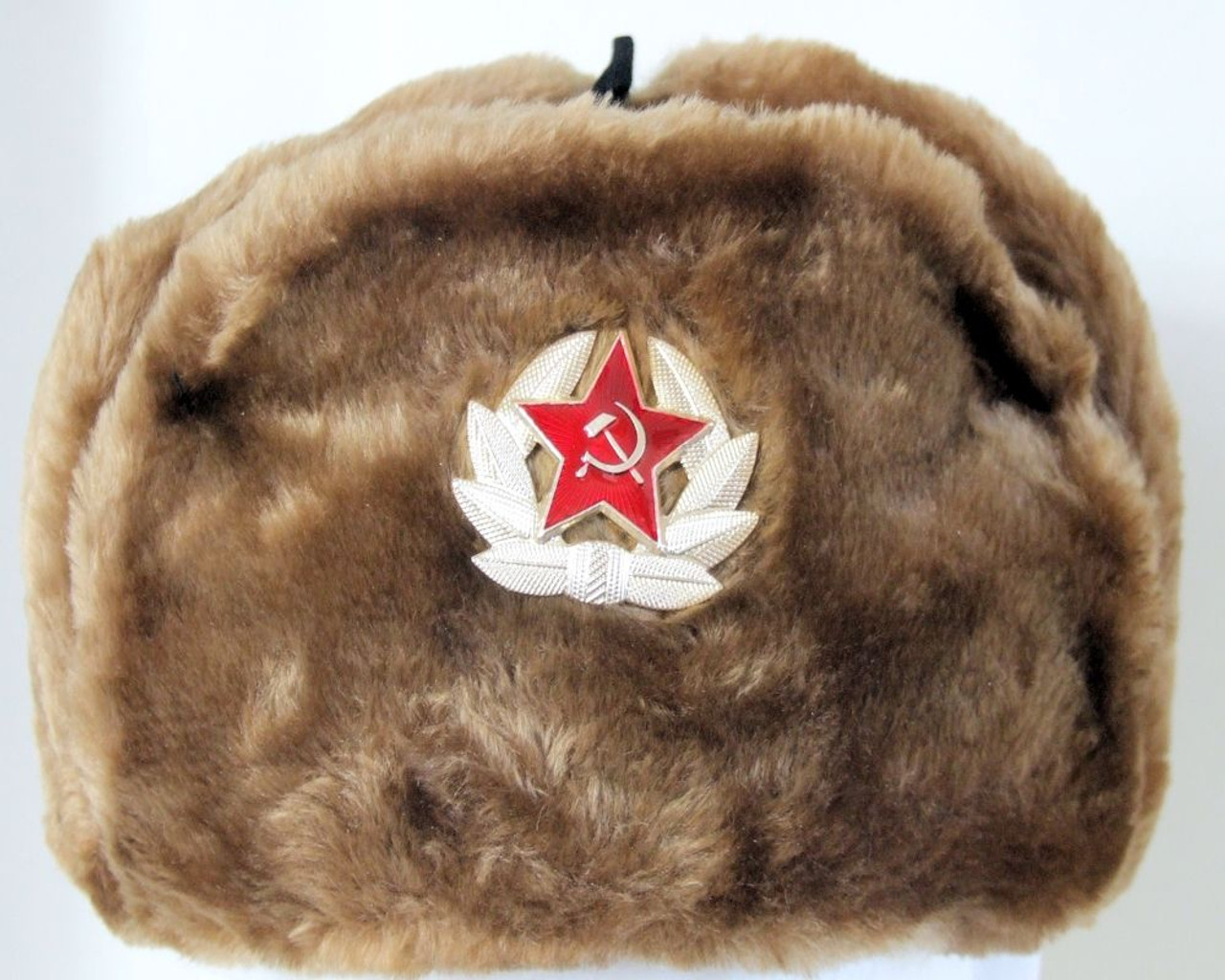 Authentic Russian Military Camel Brown KGB Ushanka Hat W// Soviet Eagle Badge