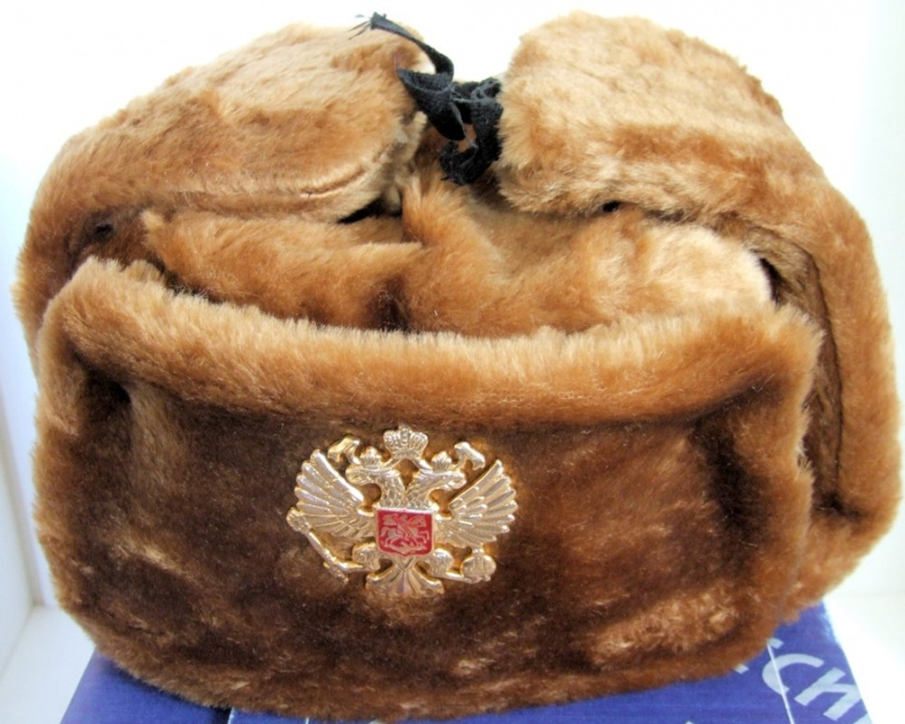 Authentic Russian Military Camel Brown KGB Ushanka Hat W  Soviet Imperial  Eagle Badge Included f65c960043d