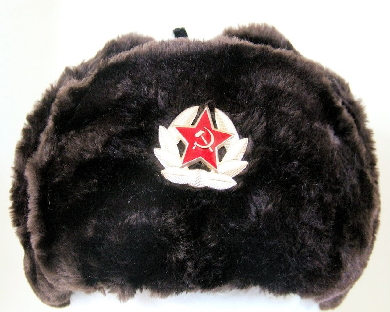 Authentic Russian Military Dark Brown KGB Ushanka Hat W  Soviet Red Army  Badge Included ded0383078f1