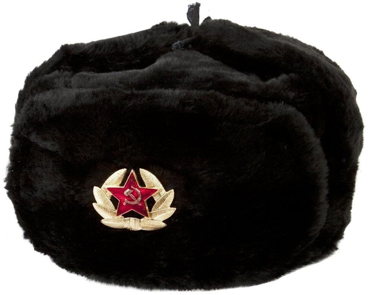 Authentic Russian Ushanka Military Hat Black w  Soviet Red Army Badge ccdb351adcd