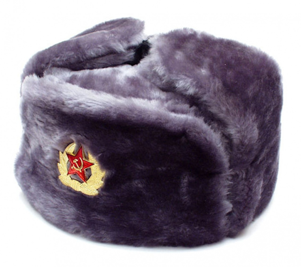 b3aa88f575613 Authentic Russian Ushanka Gray Military Hat w  Soviet Red Army Badge ...