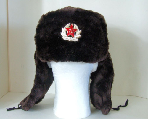 fccd6bbc04f ... Authentic Russian Military Dark Brown KGB Ushanka Hat W  Soviet Red  Army Badge Included ...