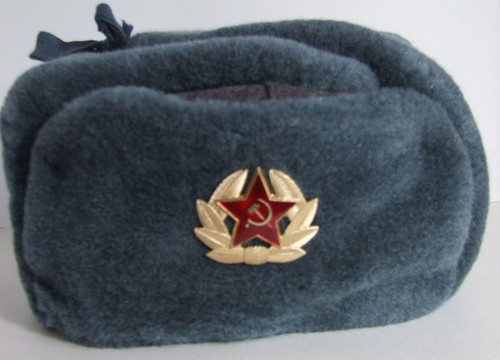 with Soviet Double Headed Eagle USSR Vintage Russian Army Ushanka Winter Hat