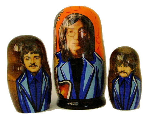 5pcs Handmade Russian Nesting Doll of The Beatles Sergeant Pepper 7 inches tall