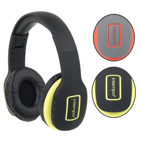 Active Wireless Bluetooth Foldable Headphones with Built-in Hands-Free Microphone, Black/Yellow