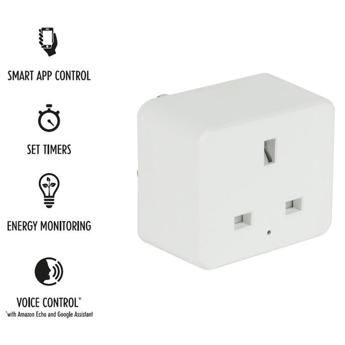 Home UK 3- Pin Smart Plug, White