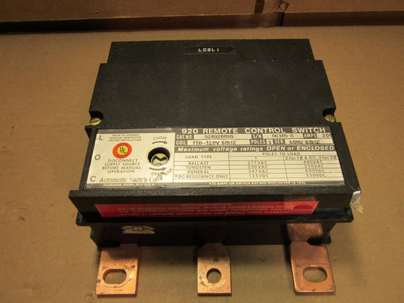 Asco 920 Remote Control Switch - 920320030 - 3 Pole, 200 Amp, Coil 110 - 120V -