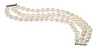 .925 Sterling Silver Freshwater Cultured Pearl 3 Row Bracelet - ON SALE!