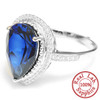 .925 Sterling Silver Pear Shaped Created Blue & White Sapphire Ring