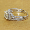 1CT Center Cushion Cut Eternal Moissanite w/ Halo Wedding Engagement Ring & Curved Form Fit Band