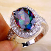 Classic Style Mysterious Halo Fashion Oval Cut Mystic Topaz Stone 925 Silver Ring