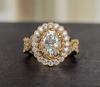The Brandy Ring - Eternal Moissanite Oval Cut Art Deco Flower Design Engagement Ring