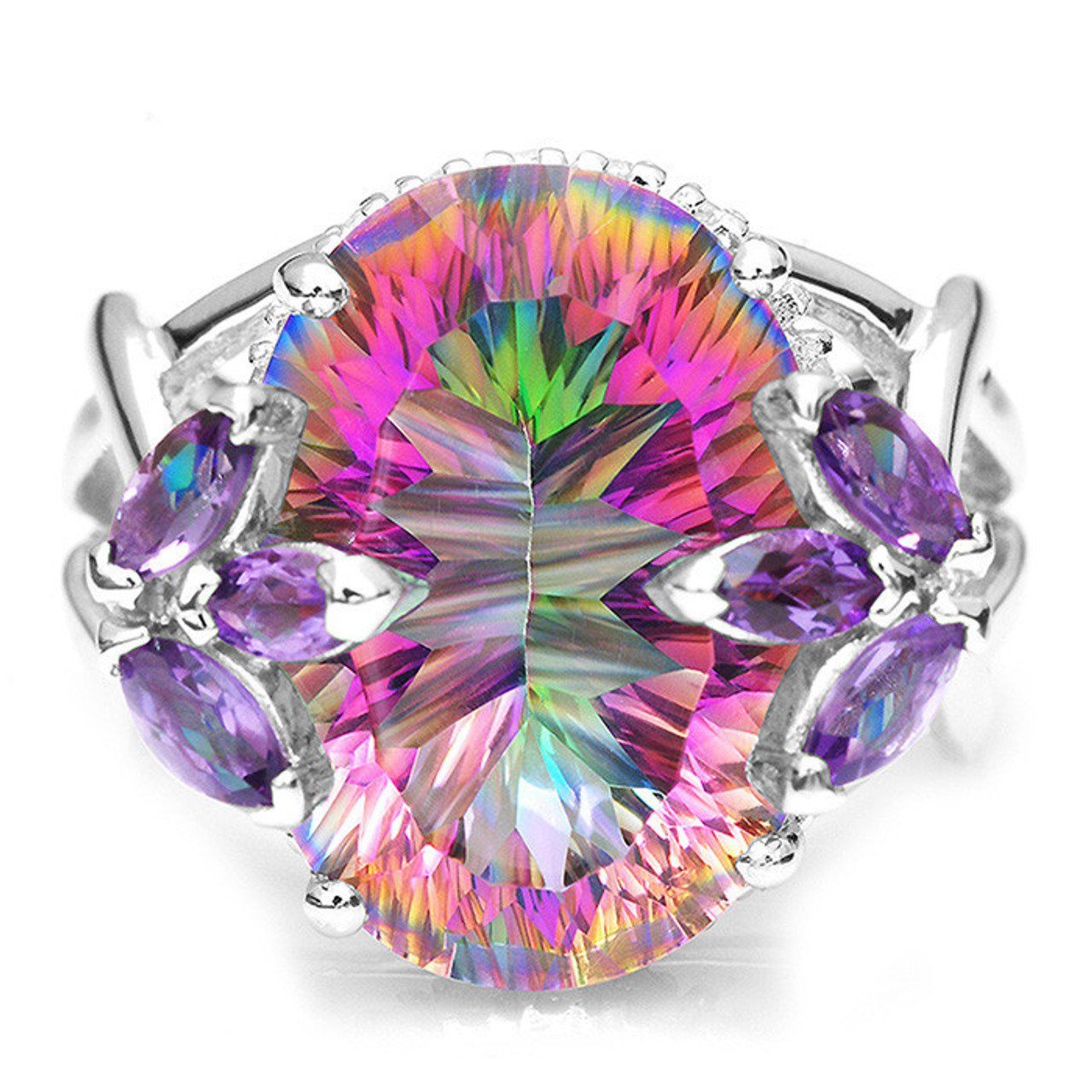 Genuine Oval 1.00 Cts Mystic Topaz Four Stone 925 Sterling Silver Ring