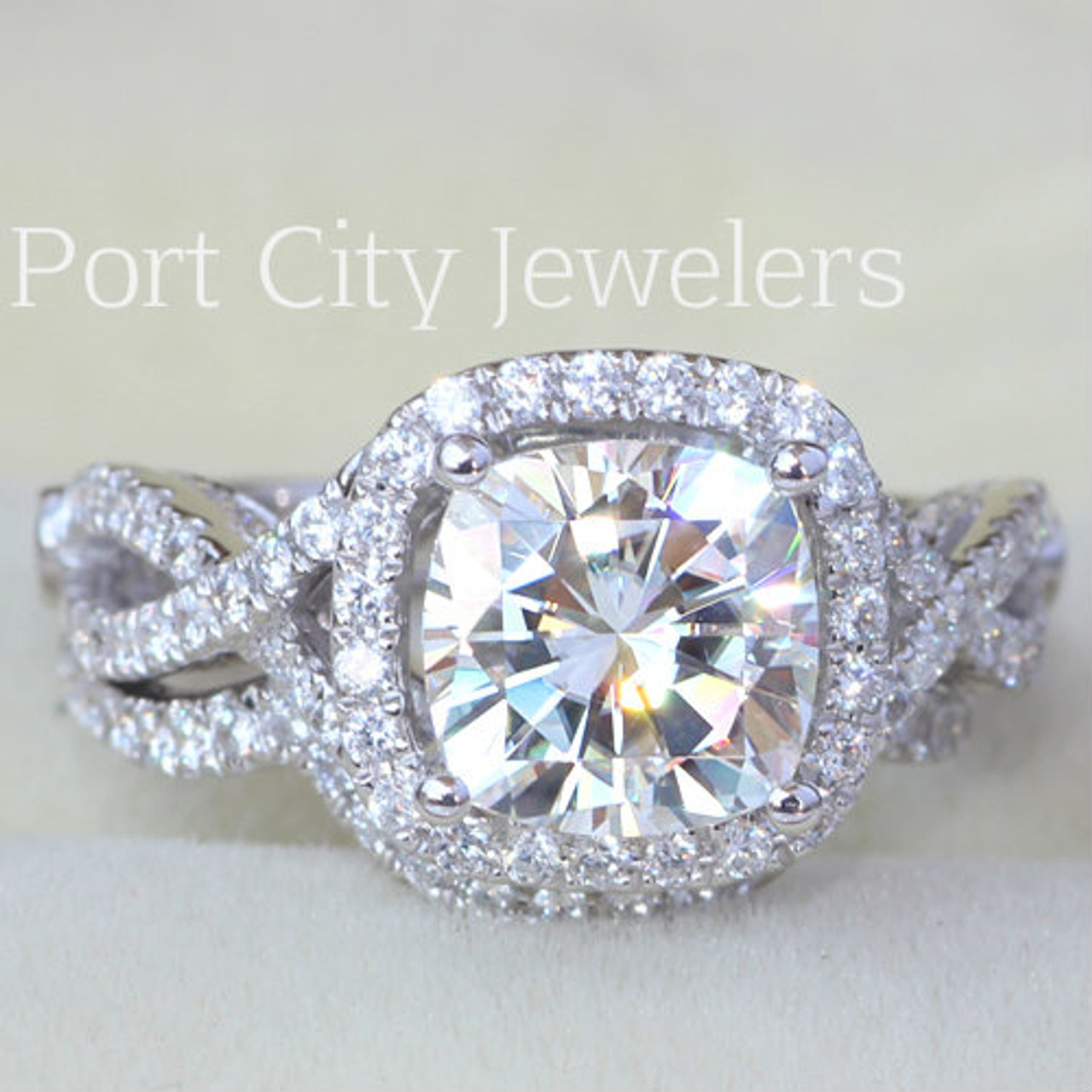 The Paisley Ring Series 14k White Gold 2ct Center Forever One Moissanite Cushion Cut W Halo Pave Set Side Stones Matching Form Fit Band Video