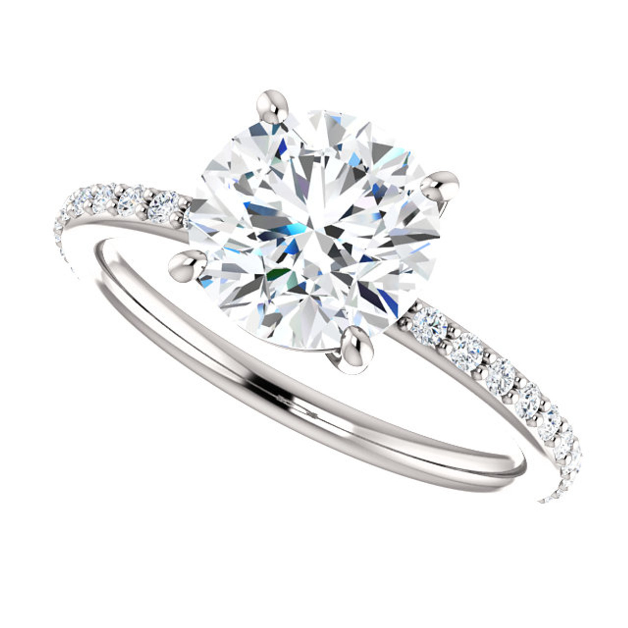 The Beverly Forever One 2CT Round Brilliant Cut Moissanite Solitaire  Engagement Ring