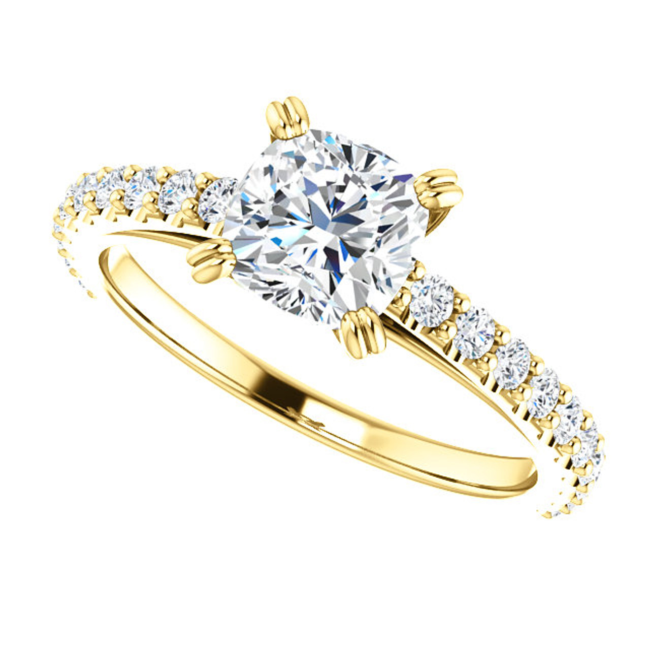 The Grace Ring Series - 1 10CT NEO Moissanite Cushion Cut & Diamond  Engagement Cathedral Style Ring