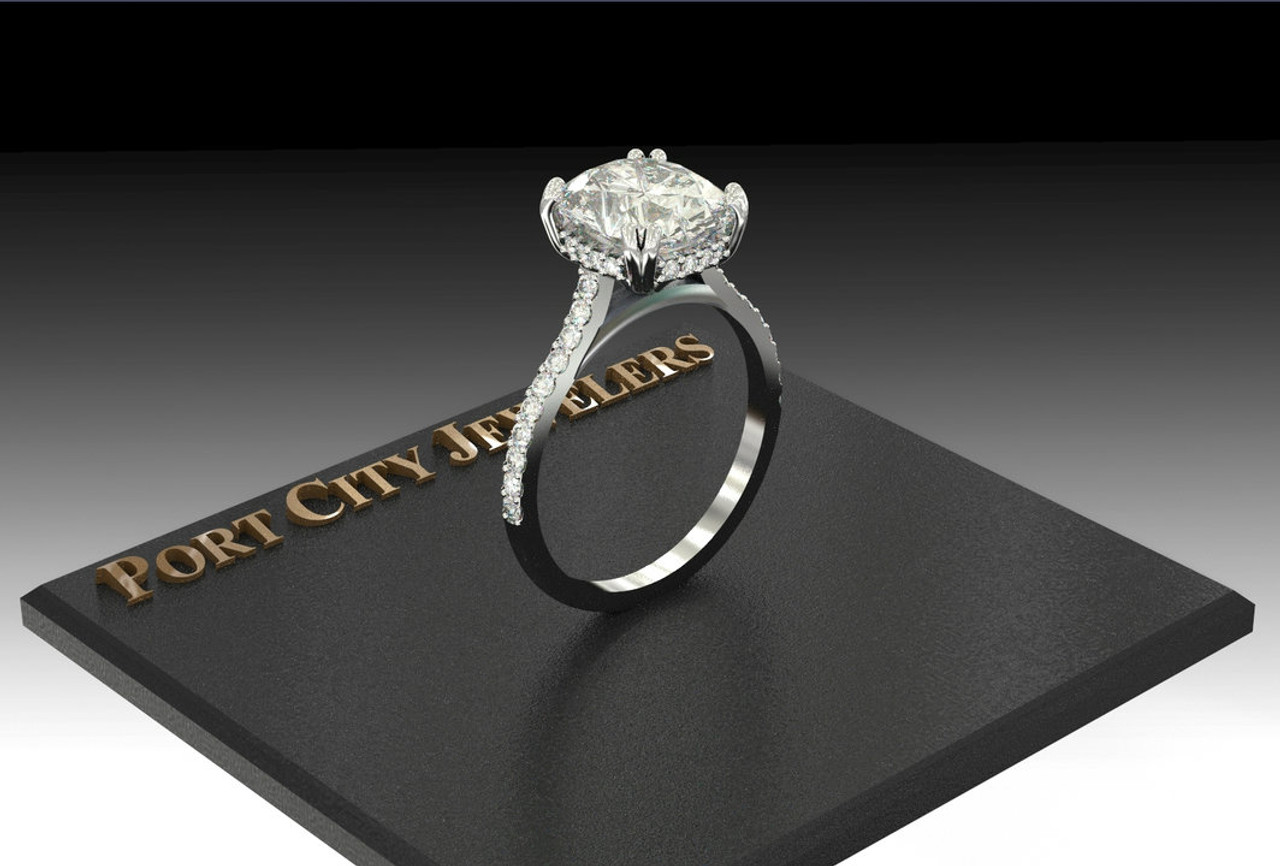 The Micayla Ring Series Eternal Moissanite Elongated Cushion Cut With Diamond Sides Halo Engagement Ring