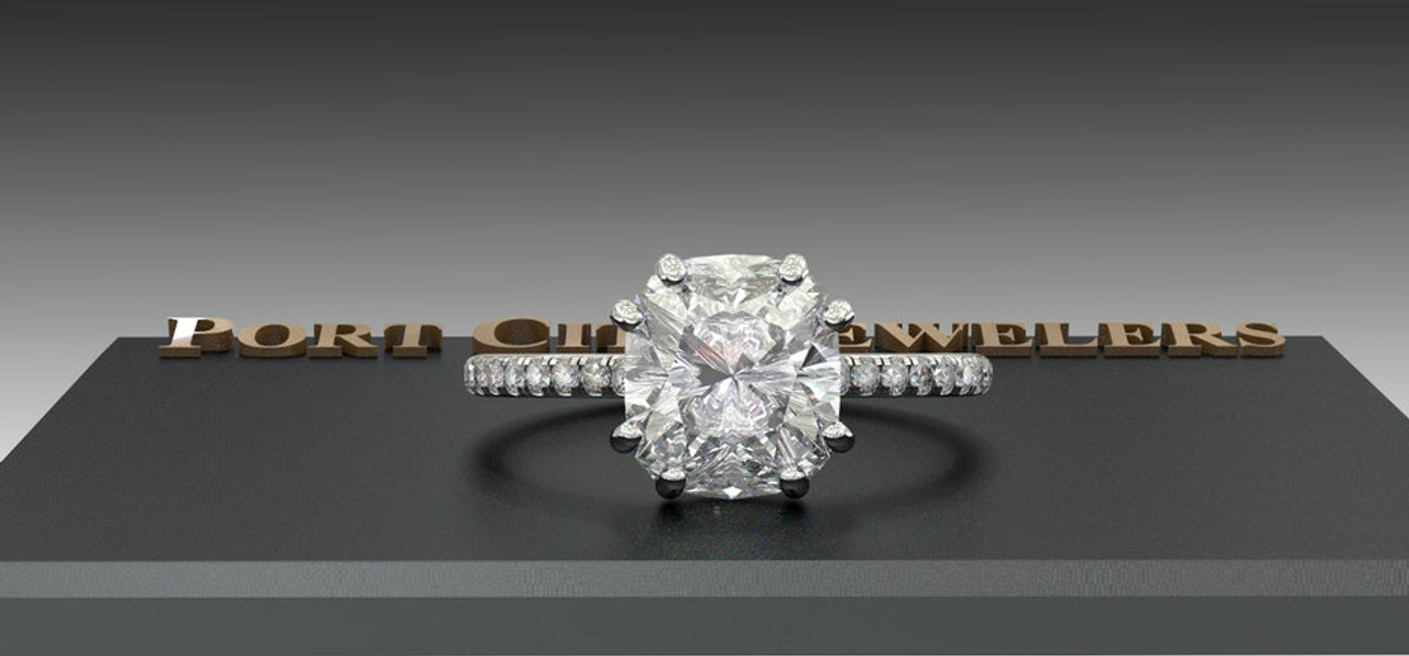 The Jodie Ring Series Eternal Moissanite 2 40ct Elongated Cushion Cut Engagement Ring