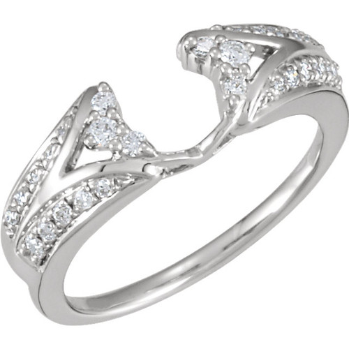 14K White Gold 1/4CT Round Diamond Wrap