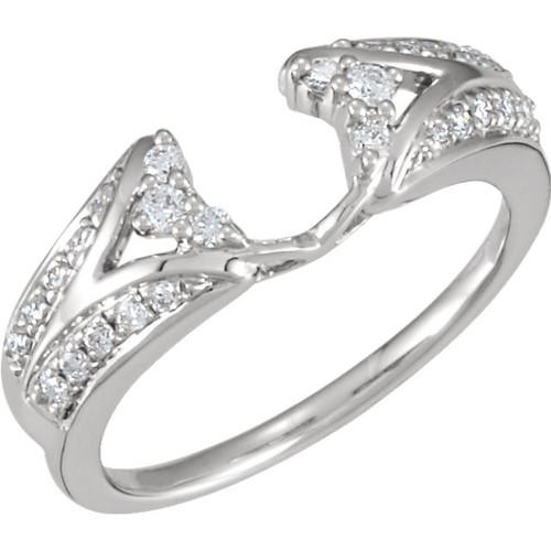 14K White Gold 1/4CT Round Diamond Wrap