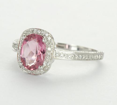 14K White Gold Pink Tourmaline Oval Cut & Diamond Halo Ring
