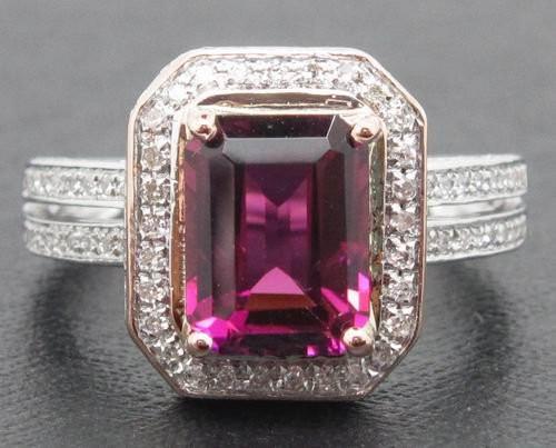 14K White Gold Pink Tourmaline Emerald Cut & Diamond Halo Ring